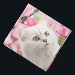 """Cat and Flowers Bandana<br><div class=""""desc"""">Funny animals,  pets. Cute white cat with green eyes and pink flowers.</div>"""