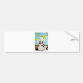 Cat and Flowers Bumper Sticker
