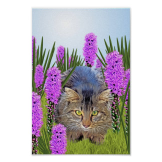 Cat and Flowers Poster