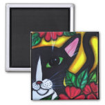 Cat and Flowers Refrigerator Magnet