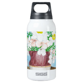Cat and Flowers Thermos Water Bottle