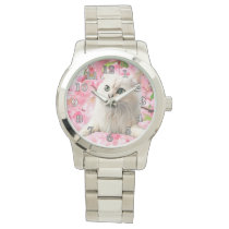 Cat and Flowers Wrist Watch