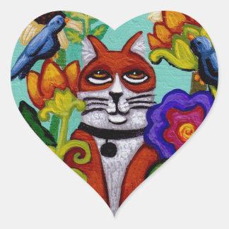Cat and Four Birds Heart Sticker