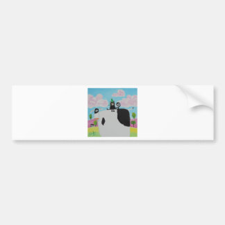 cat and frog on a cow painting Gordon Bruce art Bumper Sticker