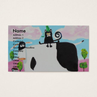 cat and frog on a cow painting Gordon Bruce art Business Card