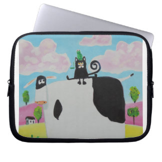 cat and frog on a cow painting Gordon Bruce art Laptop Sleeve