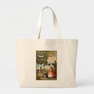 Cat and Girl Artwork Tote Bag