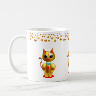 Cat and Gold Dots Confetti Coffee Mug