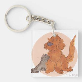 Cat and Golden Retriever / Key Chain