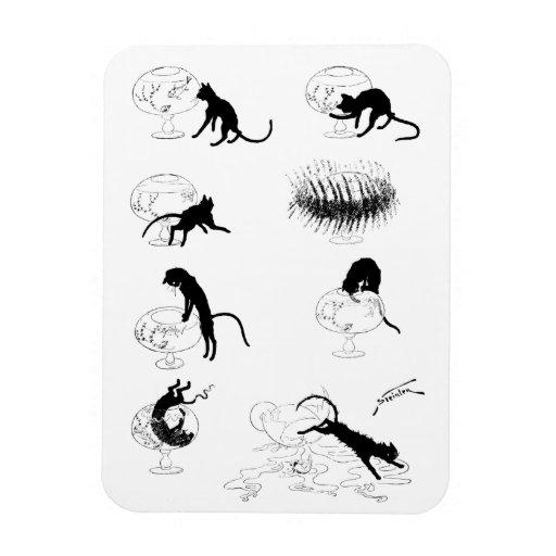 Cat and Goldfish, Alexandre Steinlen Rectangular Magnets