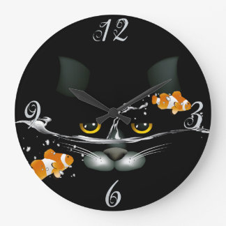 Cat and Goldfish  Wall Clock