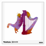 Cat and harp wall decal