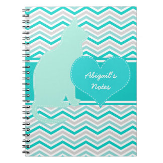 Cat and Heart on Chevron Personalized Notebook