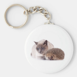 cat and hedgehog keychain
