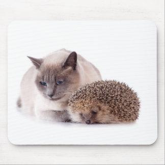 cat and hedgehog alfombrilla de ratón