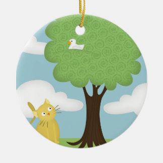 cat and his perching bird ceramic ornament