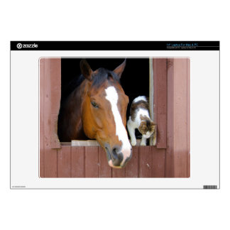 "Cat and horse - horse ranch - horse lovers 14"" laptop skins"