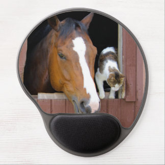 Cat and horse - horse ranch - horse lovers gel mouse pad