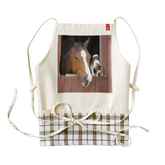 Cat and horse - horse ranch - horse lovers zazzle HEART apron