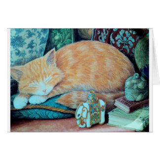 Cat and Indian Elephant Design Greeting Card