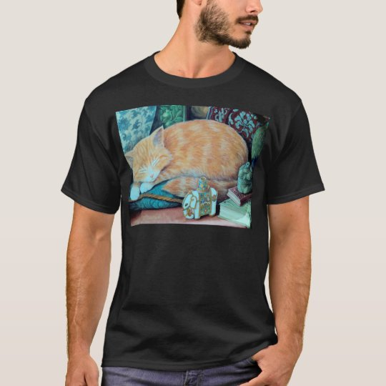 Cat and Indian Elephant Design T-Shirt
