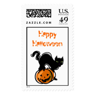 Cat and Jack o' Lantern stamp
