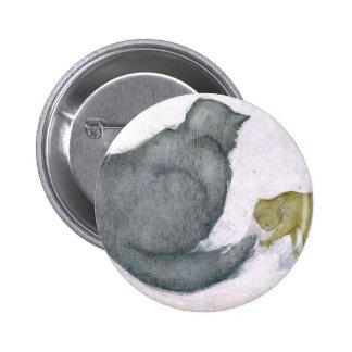 Cat and Kitten Artwork by Edward Coley Burne-Jones Button