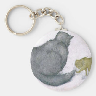Cat and Kitten Artwork by Edward Coley Burne-Jones Keychain
