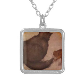 Cat and Kitten by Edward Burne-Jones Silver Plated Necklace