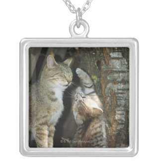 Cat and Kitten by Tree Silver Plated Necklace
