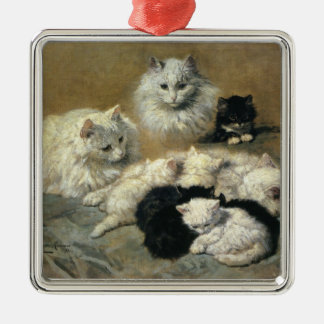 Cat and kitten square metal christmas ornament