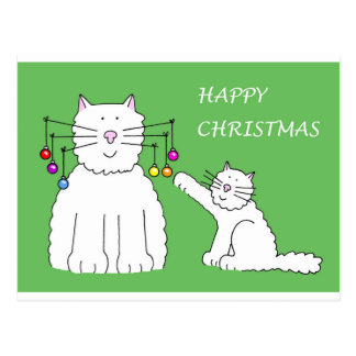 Cat and Kitten playing with Christmas baubles Postcard