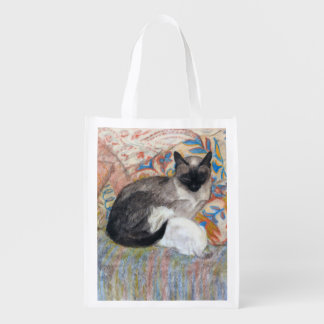 Cat and Kitten Sketch Grocery Bag