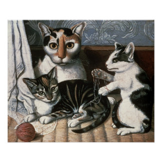 Cat and Kittens, c.1872-1883 Poster