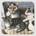 Cat and Kittens, c.1872-1883 Square Sticker
