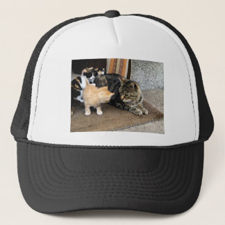 Cat and Kittens Staring at each other Trucker Hat