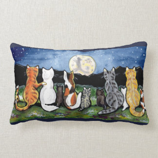 Cat and Kittens Watching Moon Designer Art Pillow