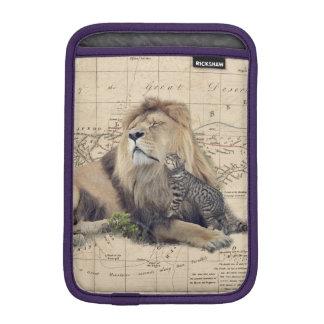 cat and lion - africa map - felines iPad mini sleeve