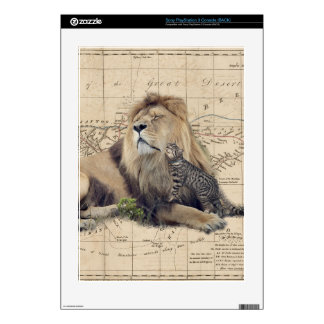 cat and lion - africa map - felines PS3 skin