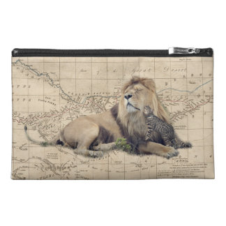 cat and lion - africa map - felines travel accessory bag