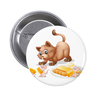 Cat and mice 2 inch round button