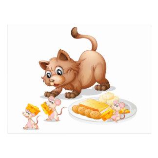Cat and mice postcard