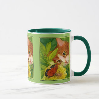 Cat and Monarch Butterfly Mug