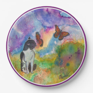 Cat and Monarch (Violet Trim) Paper Plate