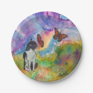 Cat and Monarchs Paper Plates 7 Inch Paper Plate