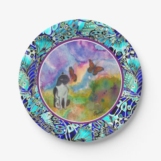 Cat and Monarchs (Winged Trim) Paper Plates 7 Inch Paper Plate