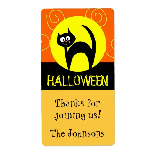 Cat and Moon Halloween Goody Bag Stickers