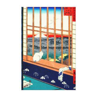 Cat and Mount Fuji 1857 Canvas Print