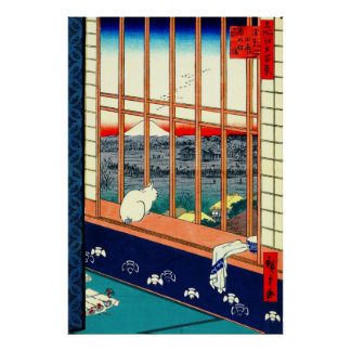 Cat and Mount Fuji 1857 Posters
