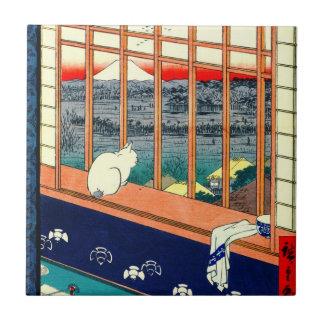 Cat and Mount Fuji 1857 Tile